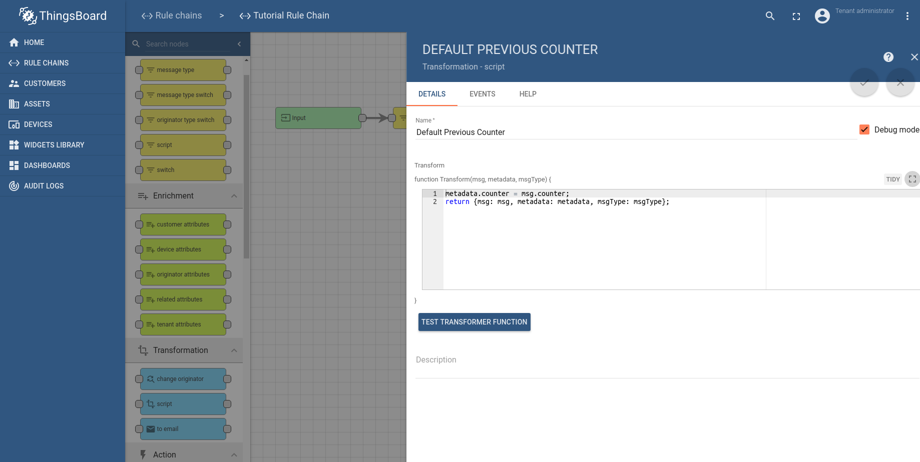 Transform telemetry using previous record   ThingsBoard